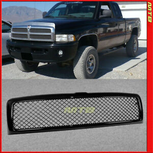 Glossy Black Mesh Style Front Grille Center Upper For Dodge Ram 94 01 1500 2500