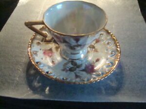 Vintage Royal Sealy China Japan Cup Saucer Rose Pattern Luster Ware