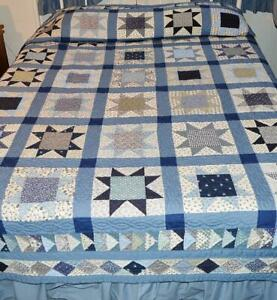 Vintage Hand Made Country Blue Morning Star Queen Bed Quilt 86 X 106