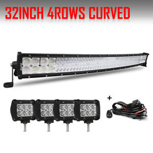 32inch Led Light Bar Curved 4 Cree Led Pods Off Road For Truck Ford Jeep 30