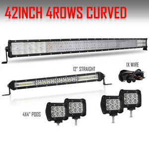 42 Inch Curved Led Light Bar 12 Slim 4x 4 18w Pods For Ford Jeep 12v 40 10