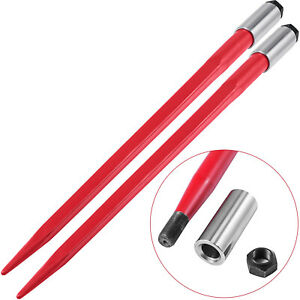 2pcs 43 Square Hay Bale Spear 3000lbs Capacity Red Spike Fork 1 3 4 Wide