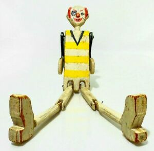 Early 20th C Vint American Hand Made Folk Art Kinetic Painted Wooden Clown Toy