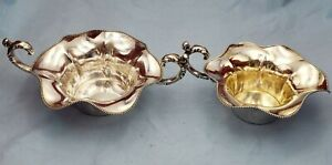 Vintage Sterling Silver Sugar And Creamer W Beaded Design On Edge 6901
