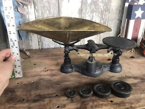 Antique Fairbanks Scale Cast Iron Brass With Weights Stunning Merchants Store