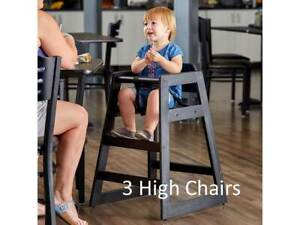 3 pack Black Finish Stacking Restaurant Dining Room Wooden High Chairs