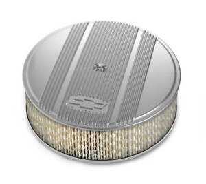 Holley 14 X 4 Finned Air Cleaner Kit Vintage Series Polished Paper Filter