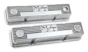 Holley M T Valve Covers Polished Vintage Style For Chevy Small Block Engines