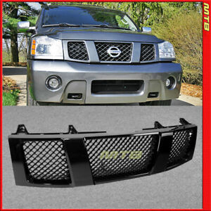 Front Upper Bumper Grille Badgeless For Nissan Titan Armada 04 07 Glossy Black