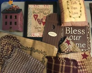 Primitive Home Decor Lot Table Runner Place Mats And More