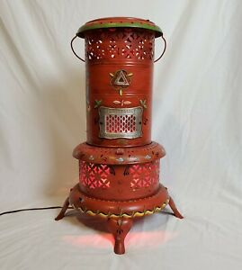 1920s Antique Smokeless Oil Heater No 525 Vtg Converted Hand Painted Signed 1969