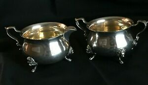 Sterling Silver By Poole 33 Footed Creamer Sugar Bowl K Monogram