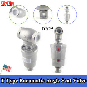 Pneumatic Actuated Angle Seat Valve Steam Water Dryer Valve T Type Dn25 Valve