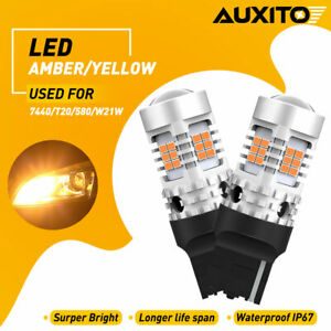 2x Canbus Error Free 7440 Amber Yellow Car Led Turn Signal Lamp Auxito Bulbs