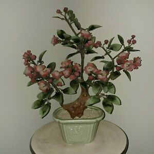 Vintage Chinese Bonsai Floral Tree Jade Glass Celadon Vase Approx 14 W 15 H
