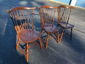 Vintage Pennsylvania House Set Of 3 Windsor Dining Chairs In Ct Solid Wood