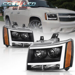 For 07 14 Chevy Avalanche Suburban Tahoe Black Led Tube Drl Projector Headlight