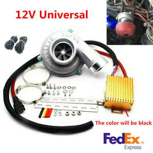 Motorcycle Car Electric Turbo Supercharger Kit Turbocharger Air Filter Intake Us