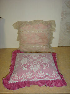 Shabby Chic Vintage Lace Pillows Pink Antique White Mauve Estate Sale Find