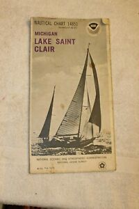Vintage Nautical Chart 14851 Michigan Lake St Clair 4th Ed Aug 1975 Noaa