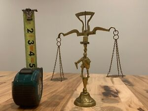 Vintage Brass Counter Balance Scale With Knight