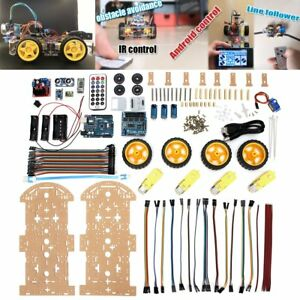 4wd Robot Car Kit Bluetooth Ir Obstacle Avoid Line Follow L298n For Arduino Ca