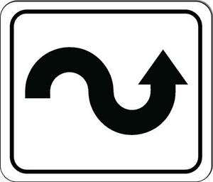 Curved Winding Right Arrow Black Metal Outdoor Sign