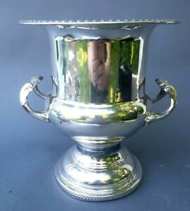 Fine Silver Plate On Copper Handed Gadrooned Champagne Bucket