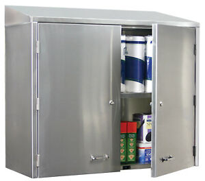 Glastender Stainless Steel Wall mount Cabinet 48 With 2 Doors