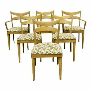 Set Of 6 Mid Century Modern Heywood Wakefield Wheat Bow Tie Dining Chairs 953