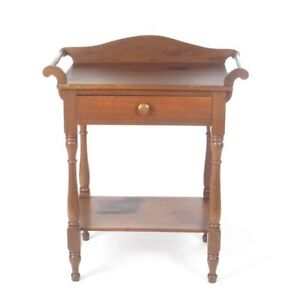 Antique Wash Stand Walnut Primitive 19th C Side End Table Wood