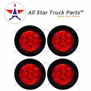4 Pc 2 Round 7 Led Light Side Marker Clearance For Trailers 4 Red Lights
