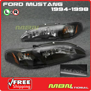 For 94 98 Ford Mustang Headlight Lamp Black Housing Clear Lens Amber Reflector
