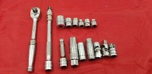 Vintage Snap On F 71 B 3 8 Drive Ratchet Smsockets And Rxtensions Q5px