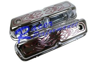 Chrome Ford Small Block Valve Covers 260 289 302 351w 5 0l Red Flames Tall Sbf