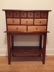 Vintage Handmade 11 Drawer Apothecary Solid Walnut Maple Wooden Chest Table