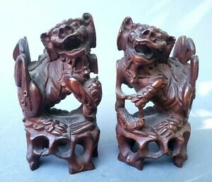 Super Fine Hand Carved Wood Foo Dogs Figures Chinese 19th Century Or Older