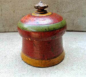 Vintage Hand Carved Hand Painted Wooden Tikka Box With Mirror Multi Purpose 12