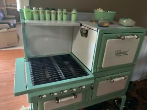 Antique Vintage Grand Gas Cooking Stove Circa 1920s White And Green
