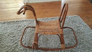 Vintage Mid Century Franco Albini Style Bamboo Wicker Rattan Rocking Horse