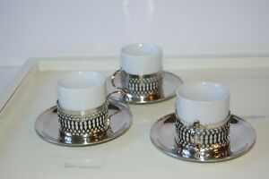Vintage Demitasse Cup With Silver Plated Holders And Saucers Lot 3