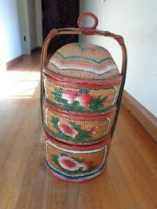 Vintage Asian Hand Painted 3 Tier Stacking Sewing Storage Wedding Woven Basket