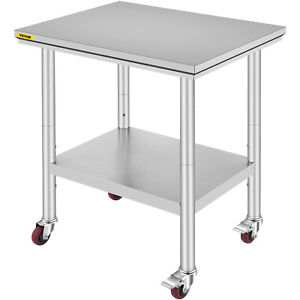 Commercial 30 X 24 Stainless Steel Work Prep Table With 4 Wheels Kitchen