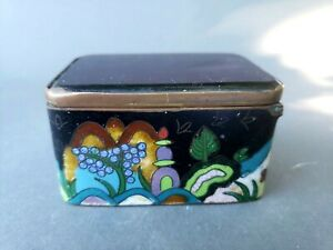 Great Antique Chinese Cloisonne Hinged Box W Amethyst Glass Lid
