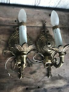 Antique Vintage Pair Of Wall Lamps Scones Made In Spain Rococo Style