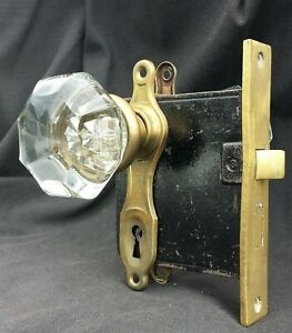 3 Avail Antique Vintage Art Deco Interior Door Lockset Set Glass Knob Plate Lock