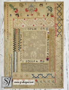 C1830 Mexican Sampler With Flame Stitch Filet Lace Cross Stitch