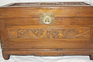 Chinese Vintage Antique Carved Blanket Wood Chest 27 1 2 X 16 X 13 5 8