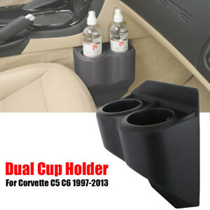 Dual Double Cup Drink Holder Beverage Black For C5 Corvette Travel Buddy 1997 13