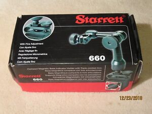 Starrett 660 Magnetic Base Indicator Holder With Triple jointed Arm Fine Adj